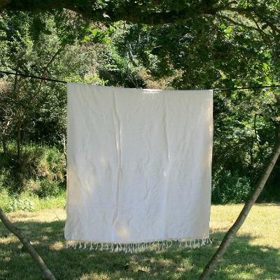 Tibetaanse deken gebroken wit