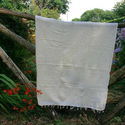 Tibetaanse omslagdoek gebroken wit